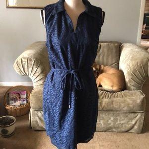 New blue lace A-line dress.